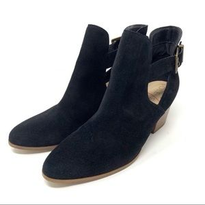 Sole Society Olive Split Shaft Black Suede Booties